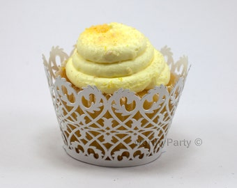 Lace Filigree White Shimmer - Elegant Laser Cut Wedding Cupcake / Muffin  Wrappers - (set of 12)