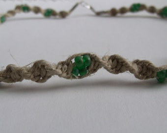 Hemp Necklace with Green Beads