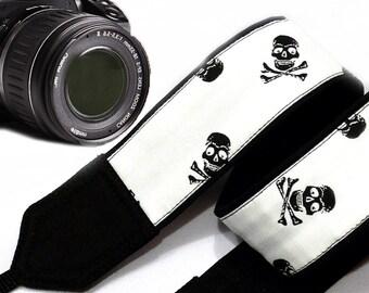 Skull Camera Strap. Halloween Camera Strap. Dslr Camera Strap.White Black Camera Strap