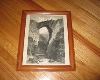 "THE NATURAL BRIDGE Virginia 1800's Framed Book Illustration 9 1/2"" x 11 1/2"""