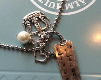 Live Large stamped metal necklace