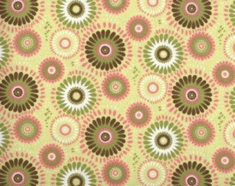 Kiwi Medallion Fabric --- 100% Cotton Fabric --- Fabric By The Yard --- Lucky Medallion