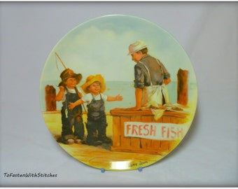 "Vintage Jeanne Down's ""Fish Story"" 1983 Collector Plate"