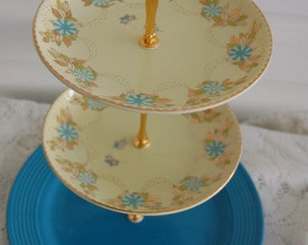 Three Tiered Beautiful Turquoise Vintage Tea Stand/Cake Stand/Cupcake Tray, 2 matching vintage gold & turquoise, Bottom solid, Wedding(190E)