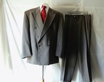 42R Fil a Fil Couture Suit - Wool - 80s Doiuble Breasted Designer - Cuffed - Oxford Gray Charcoal - Mad Men - Made Canada - Size 43 45 R