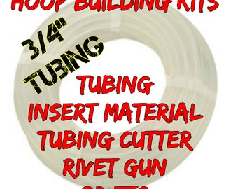 "Hoop Building Kit 100 ft  roll of 3/4"" POLYPRO hula hoop tubing - Comes with Tubing Cutter and Rivet Gun"