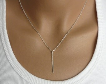Bar Necklace, Dainty Necklace, Sterling silver Necklace, Modern Necklace, Simple Silver Necklace