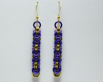 Byzantine Chainmaille Earrings | Hand Crafted Chainmaille Jewelry | Handmade Earrings | Purple and Gold | Anodized Aluminum