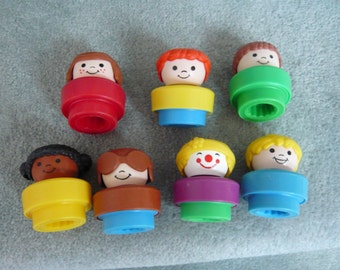 Vintage Fisher Price Chunky Little People  Lot of Seven
