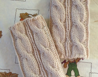 Clearance Sale-100% Wool-Oatmealcolor,Cable Boot Cuffs,Hand crocheted,Knitted Boot cuffs, Boot socks, Leg Warmers, Boot Toppers