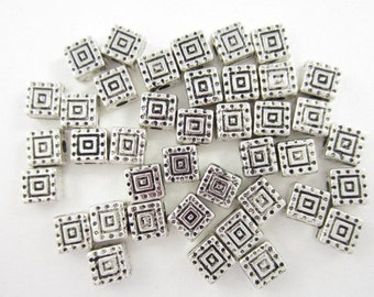 40pcs 6mm Squares Double Sided Silver Plated Bead (F1599)