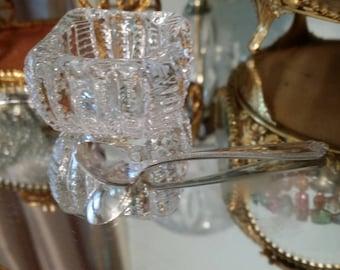 Vintage Regency Shabby Miniature Mini Westmoreland Sterling Silver Lady Hilton Pattern Salt Spoon with Cambridge Crystal Dish Cellar-No Box