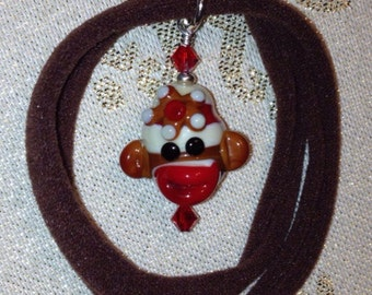 Brown Sock Monkey Necklace