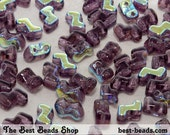 30pcs Amethyst with AB Half Coating Double Hole Zorro Beads 6x5mm