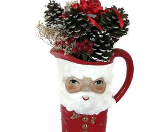 Vintage Christmas Santa Pitcher, 1960's Norcrest Santa Pitcher, Vintage Santa, Christmas Centerpiece, Christmas Decor, Kitsch
