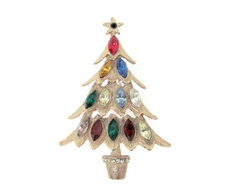 Vintage Christmas Brooch, 1960's Unsigned Hattie Carnegie Christmas Tree Brooch, Pin, Holiday, Christmas Jewelry, 1960's Christmas