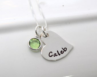 Personalized Hand Stamped Whimsy Heart Necklace with Name and Birthstone