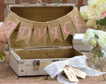 baby shower advice box, baby shower decorations, games, for the mommy to be, boy or girl, shabby chic decor, guest book trunk (TR104)