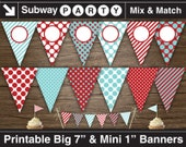 Aqua Blue, Red Printable Party Banner & Mini Cake Bunting. Polka Dots and Stripes. DIY Blank Text Editable Banner INSTANT DOWNLOAD