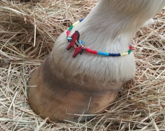 Matching Horse and Rider Friendship Bracelets with Wooden Pony - Friendship Anklet and Bracelet for Horse and Human