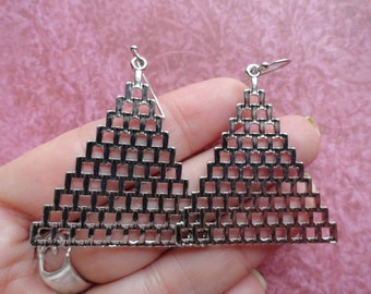 Triangle pyramid mesh  metal  silver earrings