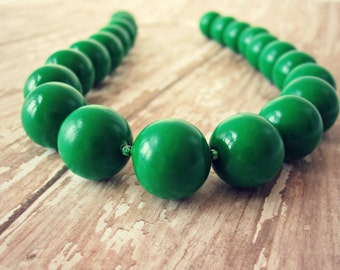Emerald Green Beaded Necklace - Green Clay Jewelry, Forest Green, Round Bead, 16 in., 20 in., READY TO SHIP