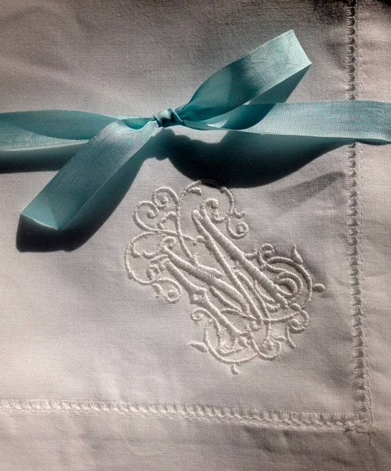 Set of 8 Monogrammed Linen Dinner Napkins.