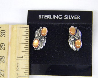 "Atractive Splended 925 Sterling SilverVintage Native American Cats Eyes Post Earrings .75"" Long #5761"