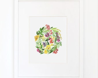 Floral Cluster in Multi- Watercolor Art Print