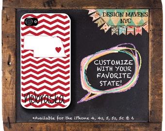 Nebraska Personalized iPhone Case, Nebraska Love iPhone Case, Fits iPhone 4, iPhone 5, iPhone 5s, iPhone 5c, iPhone 6, Phone Cover