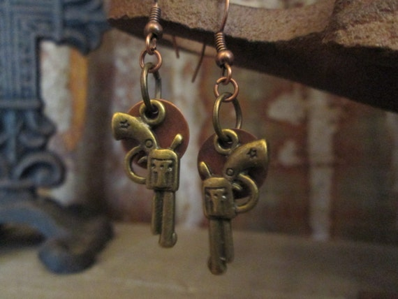 Metal Earrings, Gun Earrings, Pistol Earrings, Earrings
