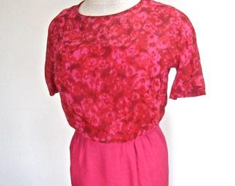 M L 60s Hot Pink MCM Wiggle Sheath Dress Silk Shantung Sheer Graphic Print Mid Century Mad Men by Andrew Medium Large