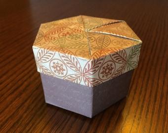 "Small Autumn Origami Hexagon Box w/ Lid - 3"" Autumn"