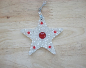 Star Ornament with Sparkly Beads Red Silver mosaic Holiday gift