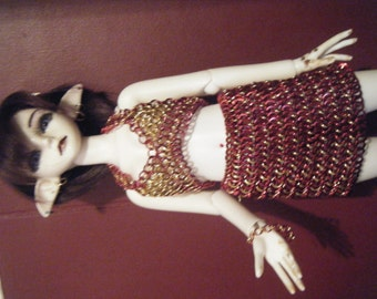 MSD BJD Chainmaille Skirt and Top