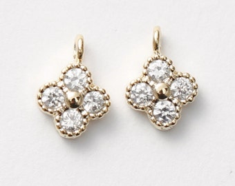 3074021 / Four Leaf Clover (Large) / 16k Gold Plated Brass with Cubic Zirconia Pendant 6.8mm x 9.6mm / 0.5g / 2pcs