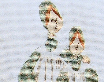 P. Buckley Moss Sisters Primitive Counted Cross Stitch Pattern Charted Design Rare Out of Print Needlework