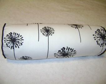 Black Dandelion Bolster Pillow Cover, Floral Bolster Pillow Cover, 6''x16''
