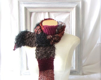 In Stock Ready to Ship Gift Hand Knit Varied Yarn Ladies Teens Scarf