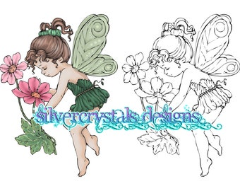 Flower Fairy Digital Stamp Digi Colour Coloured Color Colored Instant Download PDF PNG JPEG Printable Line Art Clipart Cards Scrapbooking