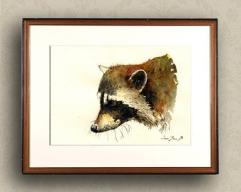 PRINT-Raccoon head painting watercolor PRINT Racoon nursery decor forest     - Art Print by Juan Bosco