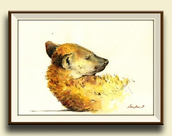 PRINT-Hyena head african portrait print watercolor  - Art Print by Juan Bosco