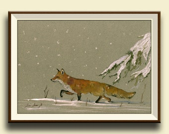 PRINT-Red fox snow forest Christmas- print watercolor painting art wall red fox head portrait   - Art Print by Juan Bosco