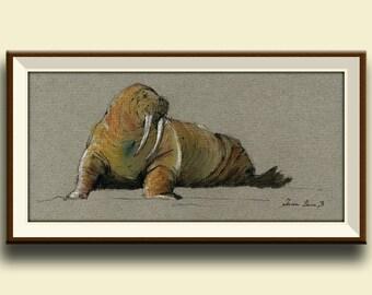 PRINT-Polar Walrus seal swim art painting watercolor print ice - Art Print by Juan Bosco