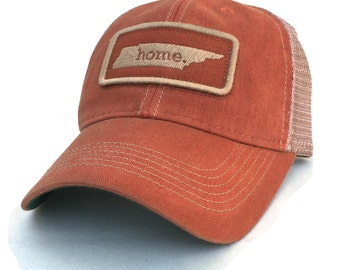 Homeland Tees Tennessee Home State Vintage Trucker Hat - Orange