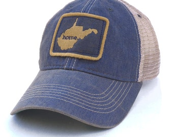 Homeland Tees West Virginia Home State Vintage Trucker Hat - Blue and Gold