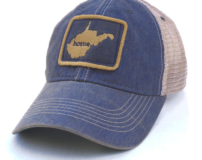 Featured listing image: Homeland Tees West Virginia Home State Vintage Trucker Hat - Blue and Gold