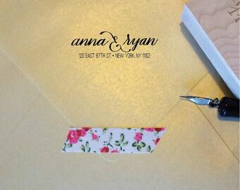 Dunn Handwritten Address Stamp, Choice of Wooden Block or Self-Inking Stamp