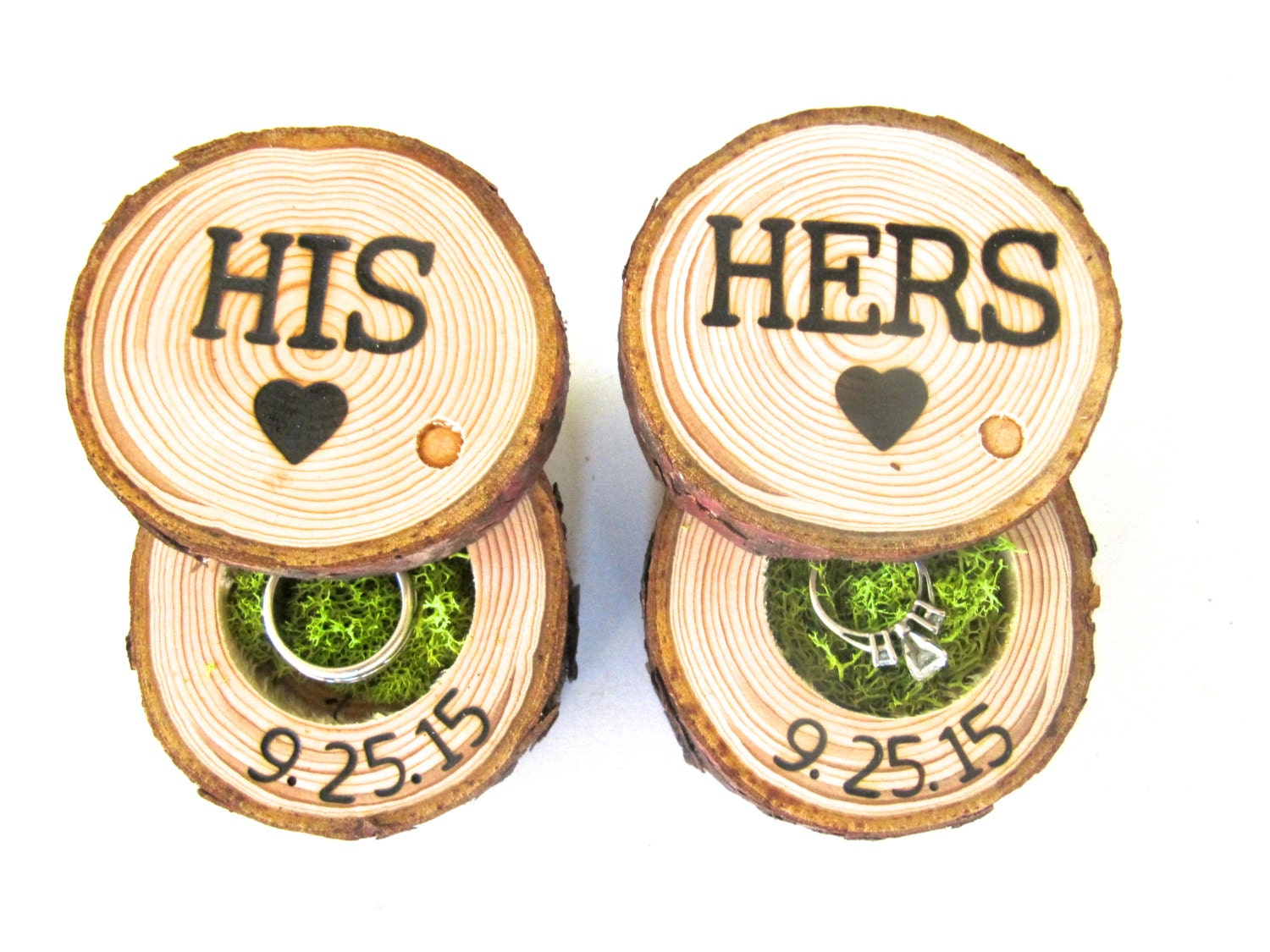 ring bearer box his and hers wedding ring box wood ring With his and hers wedding ring box