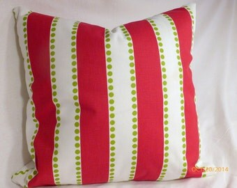 Decorative Christmas Pillow Cover - Premier Prints Lulu Stripe twill  - Red and Green -Throw Pillow - 18 x 18 - striped pillow cover